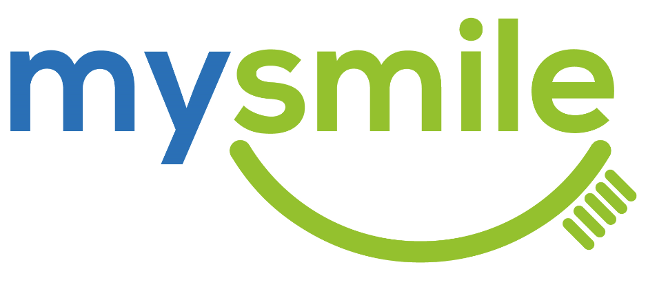 'My' written in blue text, 'smile written in green text with green curved toothbrush underneath on white background.