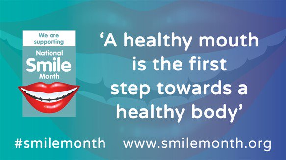 'A healthy mouth is the first step towards a health body' written in white text on a turquoise and blue background.
