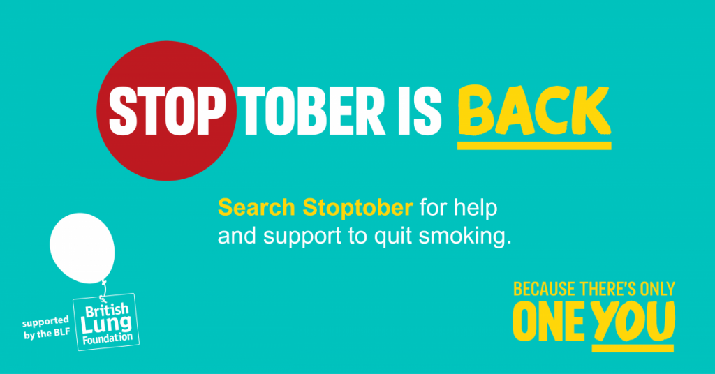 Stoptober poster turquoise green background with white and yellow text.