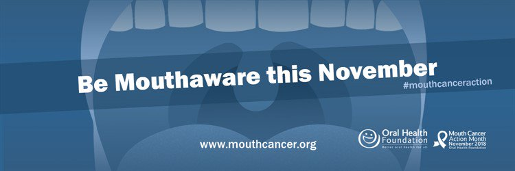 'Be mouthaware this November' written in white text on blue background